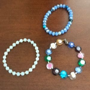 Three beaded bracelets, all sold together